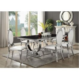 Antoine Glam Amp Bling Dining Collection Black Glass Top