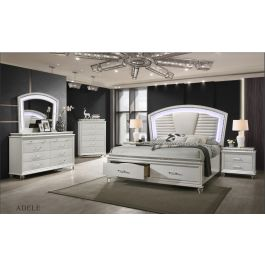 Adele Pearl White 4 Pc Bedroom Collection Casa Blanca Furniture