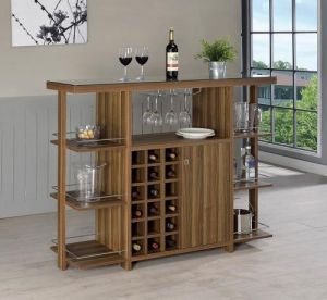 Modern Walnut Bar Unit - Wine Bottle Storage