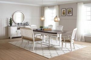 Simpson Rustic Farmhouse Dining Collection - Vintage White