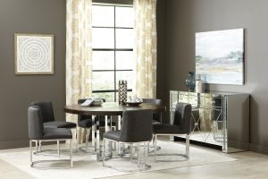 Fueyes Modern Dining Collection - Chrome & Graphite