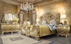 Monarch 5 Pc King Bedroom Collection - Antique Gold or Brown Finish