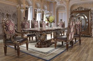 Mystical 9 Pc Dining Collection - Metallic Antique Gold