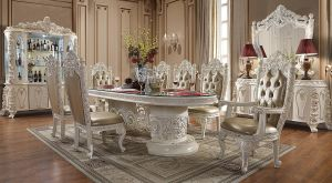 Princess 9 Pc Dining Collection - Antique White Finish