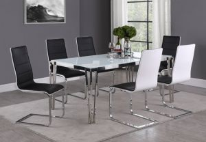 Pauline Dining Collection - White Tempered Glass Top
