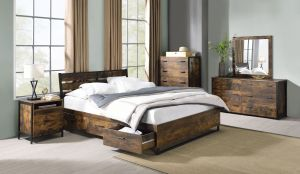 Juvanth Industrial Chic Bedroom Collection - Rustic Oak & Black