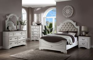 Florian Classic Design Bedroom Collection - Antique White Finish