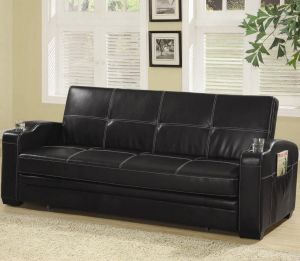 Sofa Bed Futon w/Storage + Cup Holders