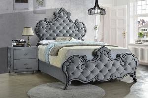 Sandboard Upholstered Bed - Grey Velvet