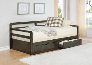 Sorrento 2-Drawer Twin Daybed w/Extension Trundle Grey
