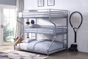 Caius II 3 Layer Bunk Bed - Silver or Gunmetal Finish