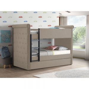 Romana II Twin Twin Bunk Bed w/Trundle - Beige or Gray Fabric