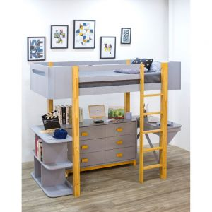 Saiyan Loft Bed w/Desk, Dresser, Bookshelf