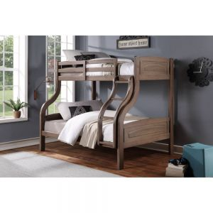 Mohini Transitional Twin Full Bunk Bed - Ash Oak Finish