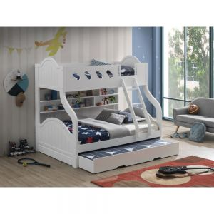 Grover Twin Full Bunk Bed w/Trundle & Storage - White Finish