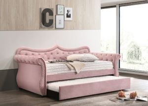 Adkins Button Tufted Daybed + Trundle - 2 Velvet Colors