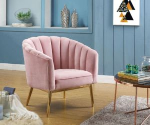 Colla Pink or Blue Velvet Accent Chair