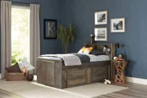 Wrangle Hill Twin Captain's Bed - Gun Smoke Finish