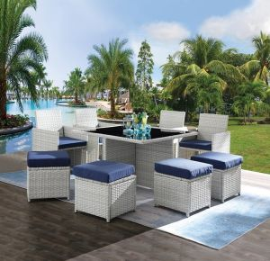Paitalyi 9 Pc Patio Set - Blue Fabric & Wicker