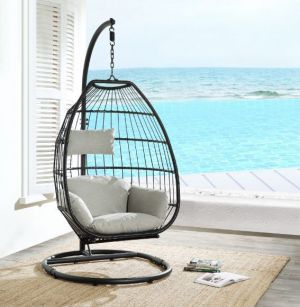 Patio Hanging Chair with Stand - Beige Fabric & Black Wicker