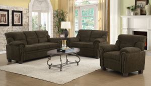 Clementine 3 Pc Upholstered Sofa Set Nailhead Trim - Brown or Graphite