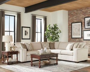 Aria L-Shaped Sectional Nailhead Trim - Oatmeal Chenille