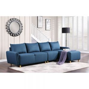 Marcin Sofa Sectional - Blue or Gray Fabric