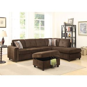 Belville Velvet Sectional Collection - 3 Color Choices