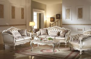 Chantelle Sofa Collection - Pearl White Finish