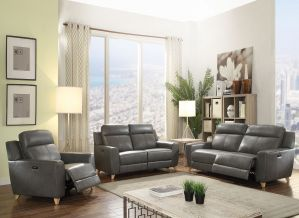 Cayden Power Motion Sofa Collection - Gray Leather-Aire