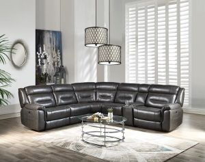 Imogen Power Motion Sectional - Gray Leather-Aire