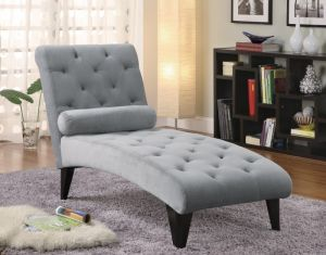 Button Tufted Chaise - Gray