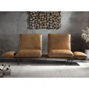 Narech Nutmeg Top Grain Leather Sofa - Swivel Seats