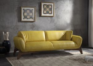 Pesach Mustard Top Grain Leather Sofa