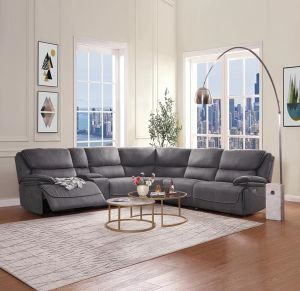Neelix Power Motion Sectional - Seal Gray Fabric