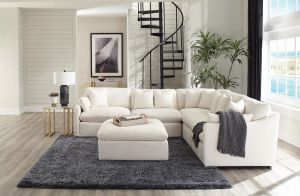 Hobson 6 Pc Modular Sectional - Off White Linen-Like Fabric