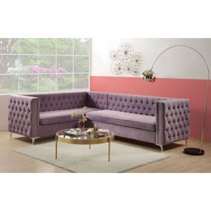 Rhett Purple Velvet Sectional Sofa - Transitional