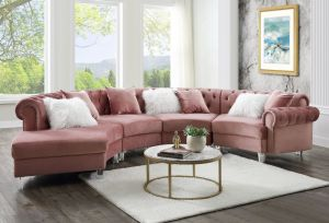 Mojave Sectional Sofa - Pink or Gray Velvet