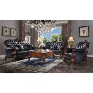 Dresden Cherry Oak & Black PU Sofa Collection - Traditional Vintage