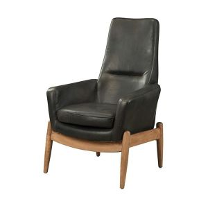 Dolphin Black Top Grain Leather Accent Chair