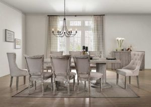 Gabrian 9 Pc Double Pedestal Dining Collection - Reclaimed Gray Finish