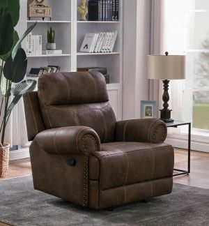 Brixton Glider Recliner - Buckskin Brown Coated Microfiber
