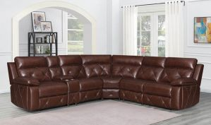 Chester 6 Piece Power Sectional - Top Grain Leather Chocolate