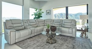 Garnet 6 Pc Power Motion Sectional - Top Grain Leather