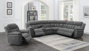 Bahrain 6 Pc Motion Sectional Charcoal Chenille