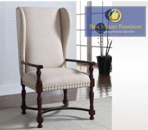 Accent Chair - Natural with Cherry Wood & Nailhead