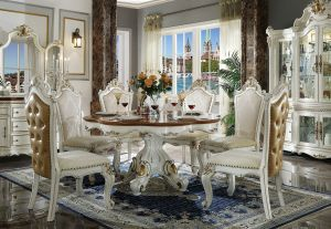 Picardy Round Dining Table Collection - Antique Pearl + Cherry Oak