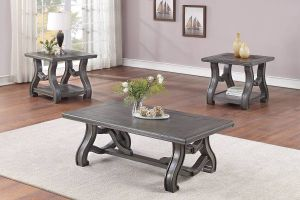 3 Pc Occasional Tables - Hand Crafted Wooden Top