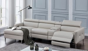 Beryl 4 Pc Power Sectional - Light Grey