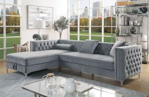 Amie Chic Sectional - Gray or Black Flannelette
